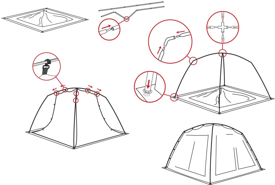 Схема сборки торговая палатка 3 х3 м
