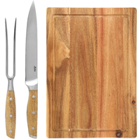 Набор для мяса из 3 предметов Maku Carving Knife And Fork & Cutting Board