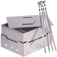 Коптильня-гриль-мангал Инвент Групп (портативный комплект изчерной стали)